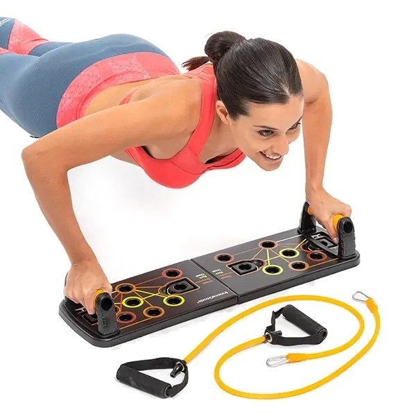 Stay fit out home system with resistance bands for him and her