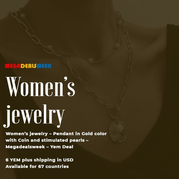 Pendant in Gold color with Coin and stimulated pearls – Megadealsweek – Yem Deal - Women's jewelry